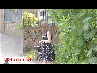 Sexy teen flasher Lauras amateur public nudity and voyeur exposure of small tits